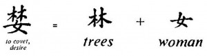 Chinese desire=2trees+woman