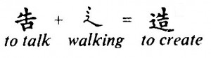 Chinese: to talk + walking = to create